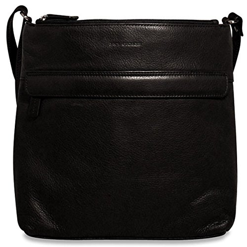 (Jack Georges Soho Collection Leather Zip Top Hobo Bag in Black)
