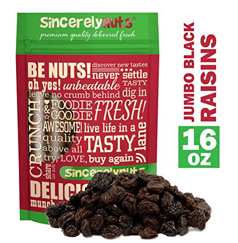 Sincerely Nuts Black Jumbo Raisins - One Lb. Bag - Rich In Nutrients, Appetizingly Flavorful - Freshness Guaranteed - Kosher -