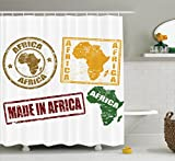 Ambesonne African Shower Curtain, Grunge Rubber Stamps Made in Africa Quote Inside Authentic Symbols Theme, Fabric Bathroom Decor Set with Hooks, 75 Inches Long, Yellow and Red