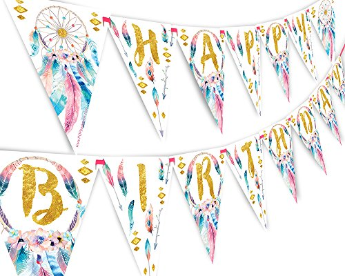 Boho Happy Birthday Banner Pennant - Wild One Party Banner]()