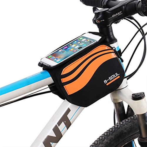 Bolsa bicicleta frontal 2-lados alforja delantera bolsa de manillar de 5.8 Pulgadas Móvil PVC Transparente Impermeable Bolso...