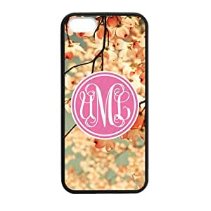 Sakura Pink Cherry Monogram Design for Girls Costom Plastic Cover Case For Iphone 5 and 5S By @ALL