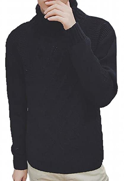 Generic Mens Casual Pullover Turtleneck Cable Knit Jumper Sweaters