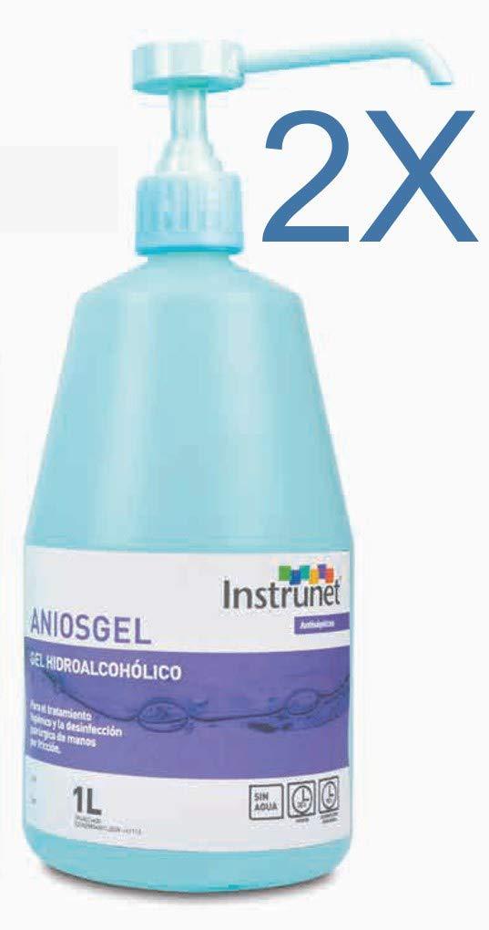 Desinfectante de manos Hidroalcohólico en Gel Aniosgel 1L, Pack 2 unidades. Para el tratamiento higiénico y la desinfección de manos por fricción sin ...