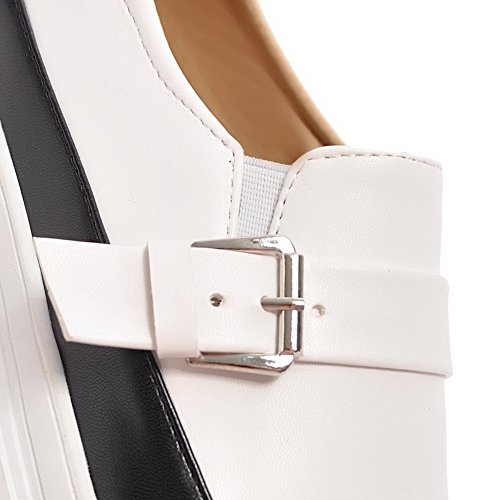 VogueZone009 Damen Blend-Materialien Niedriger Rund Zehe Gemischte Farbe Ziehen auf Pumps Schuhe Schwarz