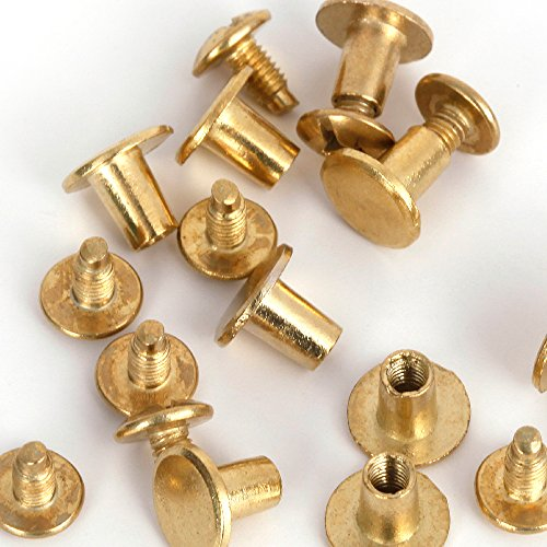 Gold Metal Spike (Round Flat Studs and Spikes Metal ScrewBack For Leathercraft Punk DIY - Gold, 8mm x 7mm, 30 PCS By eART)