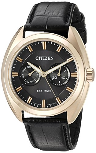 Citizen-Mens-Dress-Quartz-Stainless-Steel-and-Leather-Casual-Watch-ColorBlack-Model-BU4013-07H