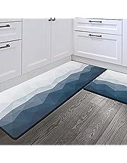"Sunlit Set of 2 Anti Fatigue Kitchen Floor Mat (Size 28""x17"" & 47""x17""), Non Slip Waterproof Comfort Standing Mat, 0.4 Inch Thick Cushioned Kitchen Rug Runner, Goemetric Gradient Ombre Blue"