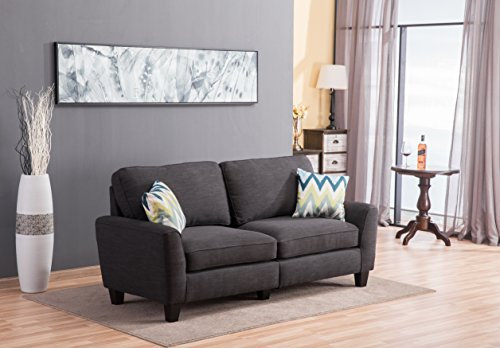 Living Room Sofa bedroomwith Rubber Wood Contemporary upholstered Large (60, Black)