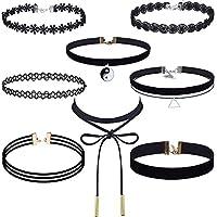 Conjunto de collar de gargantilla Outus de 8 piezas Stretch Velvet Classic Gothic Tattoo Lace Choker Necklaces, Black