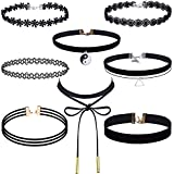 #10: Outus 8 Pieces Choker Necklace Set Stretch Velvet Classic Gothic Tattoo Lace Choker Necklaces, Black