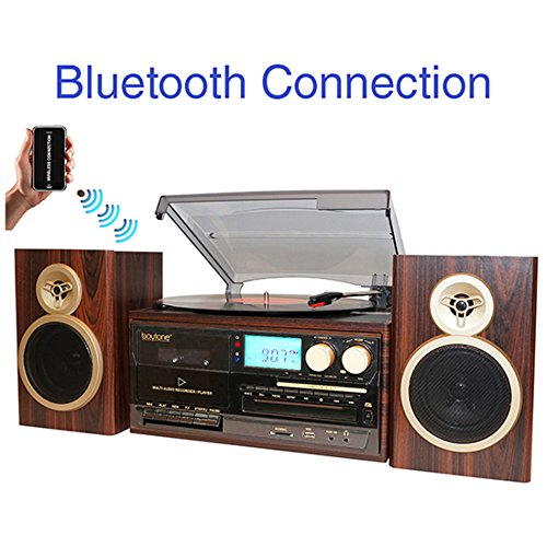 BT-28SPM Boytone, Bluetooth Classic Style Record Player Turntable with AM/FM Radio, CD/Cassette Player, 2 Separate Stereo Speakers, Record from Vinyl, Radio, and Cassette to MP3, SD slot, USB, AUX.