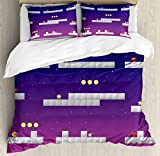 Boy's Room King Size Duvet Cover Set by Lunarable, 8-bit Video Game Location Arcade Games Star Bomb Coin Stairs Kids Print, Decorative 3 Piece Bedding Set with 2 Pillow Shams, Navy Blue Pink Grey