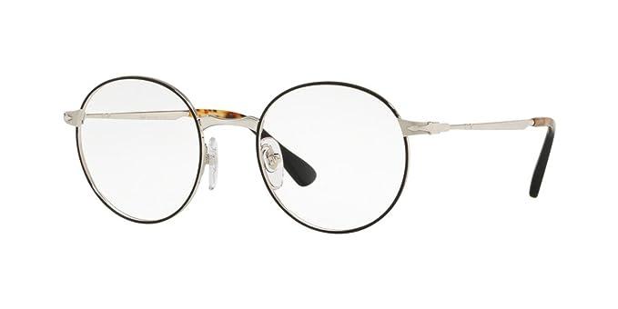 Persol PO2451V Eyeglass Frames 1074-49 - Silver/Black PO2451V-1074 ...