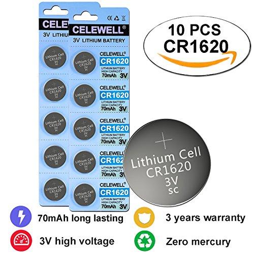 CR1620 3V Lithium Coin Cell Battery For Traker/3D Glasses 70 mAh 10 Pack CELEWELL Brand 3 Years - Top Brands Glasses 10