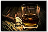 Cigar & Wine Canvas Wall Art for Bar, Artisweet Pictures Canvas Prints Oil Paintings for Home Decoration Wall Decor Artwork, 20''x30''x1'' Thick Ready to Hang