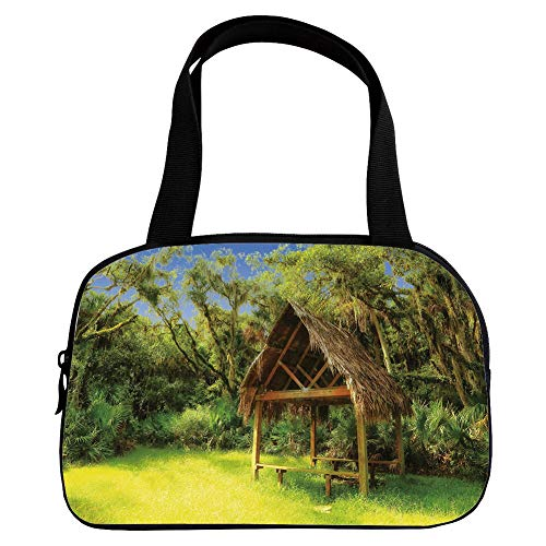 Polychromatic Optional Small Handbag Pink,Tiki Bar Decor,Tiki Hut in Dreamy Fantasy Forest Tropical Island Wildlife Greenery,Green Blue Brown,for Girls,Print Design.6.3