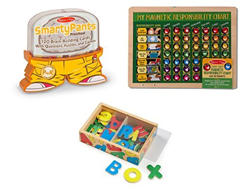 Melissa & Doug Smarty Pants - Preschool Card Set, My Magnetic Responsibility Chart, Magnetic Wooden Alphabet Bundle Toy - Doug Magnetic Chart Responsibility
