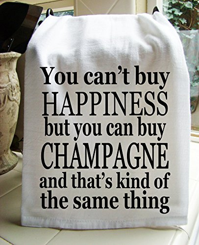 Sweet Bohemian Life Champagne and Happiness handmade printed Kitchen flour sack towel (Champagne Gifts)