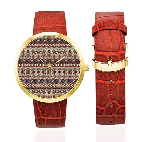 Native American Fashion Women's Golden Leather Strap Watch,Ethnic Native Culture Geometric Tribal Motif Artistic Pattern Decorative for Womans,Case Diameter: 40mm from C COABALLA