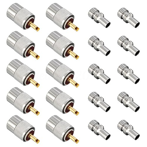 ESUMIC PL259 Solder Connector Plug With Reducer for RG8X Coaxial Coax Cable ()