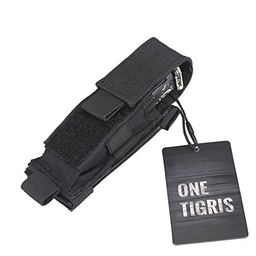 Horizontal Magazine Pouch - OneTigris Tactical MOLLE Folding Horizontal Vertical Belt Tool Pouch Single Pistol Mag Pouch (Black)