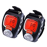 VECTORCOM Portable Digital Wrist Watch Walkie Talkie Two-Way Radio for Outdoor Sport Hiking.462MHZ.1pair. (Black)