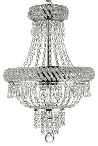 French Empire Crystal Chandelier Chandeliers Lighting, Silver, H22 X Wd15, 3 Lights