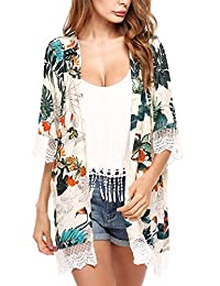 Meaneor Women Loose Floral Print Blouse Lace Beach Cover Up Kimono Cardigan