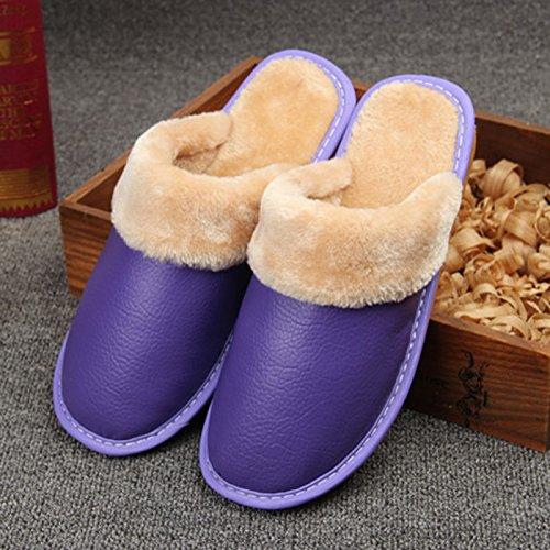Fankou pantofole inverno scarpe di cotone di rimanere caldo scarpe uomini e donne paio di spessore della camera non-slip ,37-38, marrone