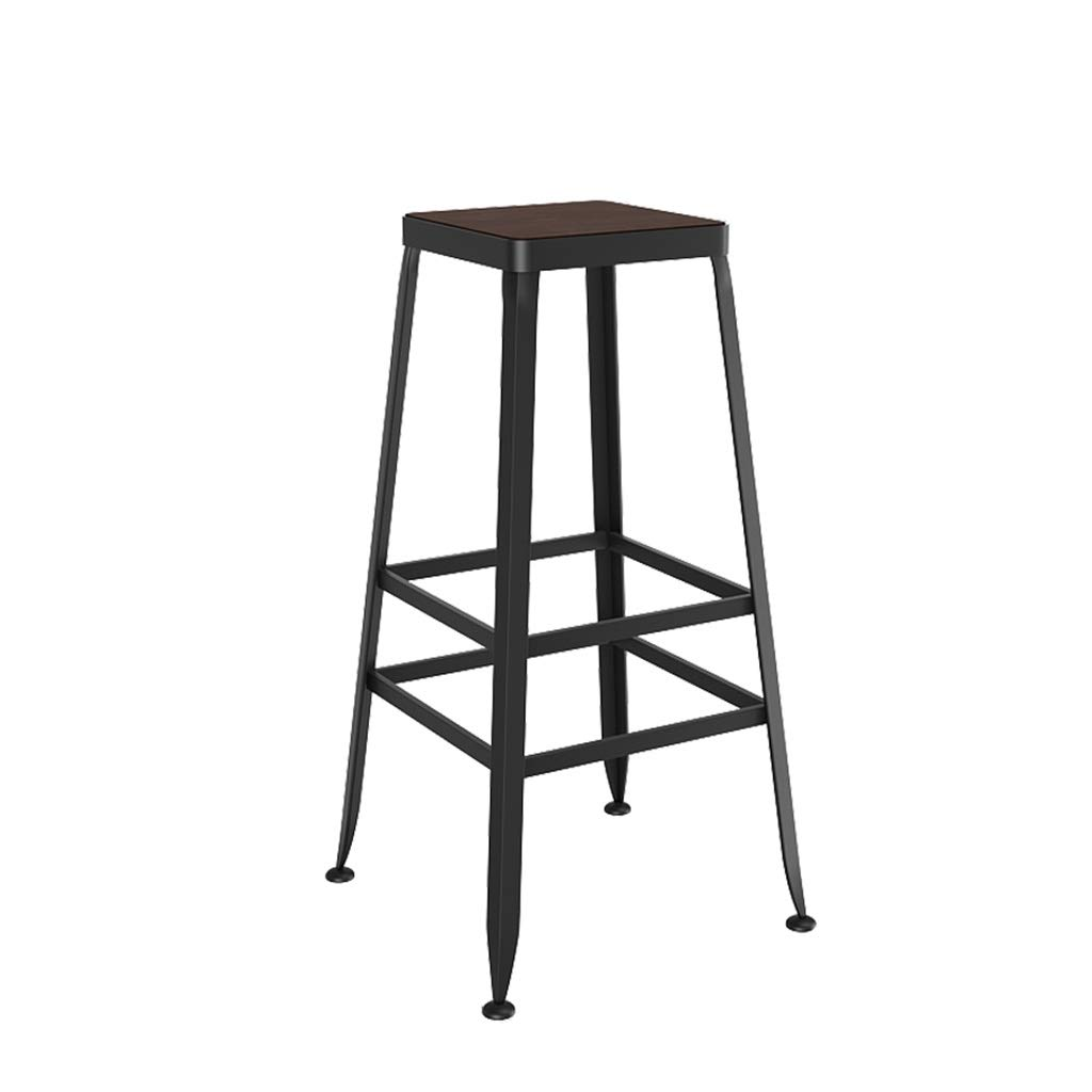 70cm FFLSDR Vintage Style Wrought Iron Wood Bar Stool Bar Stool High Stool Can Be Used in Kitchen Restaurant and Counter Bar (Size   80cm)
