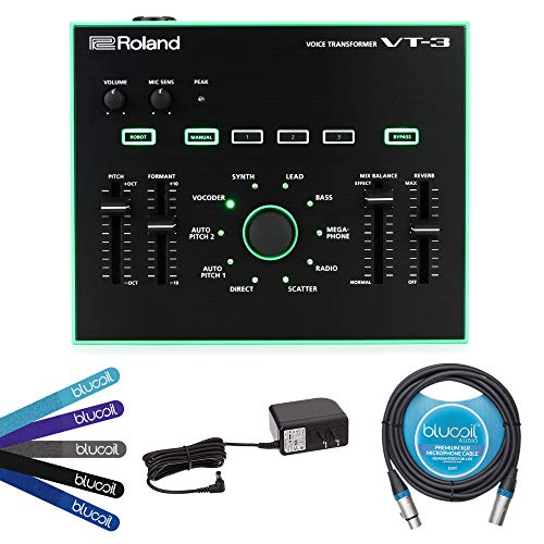 Effects Processor Studio (Roland AIRA VT-3 Voice Transformer and AC Adapter with USB Plug Bundle with Blucoil 10-FT XLR Cable and 5-Pack of Blucoil Reusable Cable Ties)