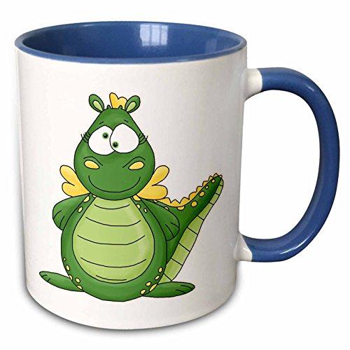 3dRose Anne Marie Baugh - Illustrations - Cute Green Cross Eyed Dragon Illustration - 15oz Two-Tone Blue Mug (mug_211158_11)