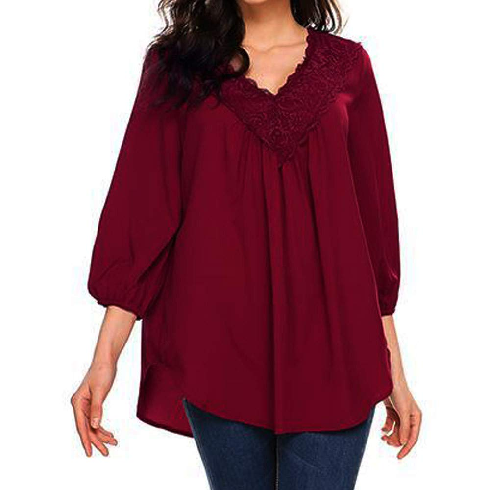 SMALLE ◕‿◕ Clearance, Women Fashion Solid Three Quarter Sleeve Top Lace Blouse V Neck T-Shirt at Amazon Womens Clothing store:
