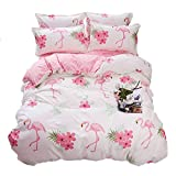 Kimko Fresh Style Flamingo Bedding Set- Children Reversible Light Pink Flamingo Pattern & White Cover -4Pcs -1 Duvet Cover Set + 1 Bed Flat Sheet + 2 Pillowcases