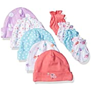 Gerber Baby Girls' 9 Piece Cap (0-6M) and Mitten (0-3M) Bundle, Birdie, Newborn