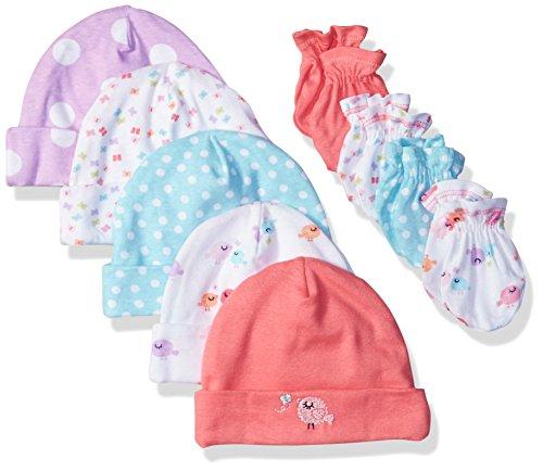 Gerber Baby Girls' 9 Piece Cap (0-6M) and Mitten (0-3M) Bundle, Birdie, Newborn