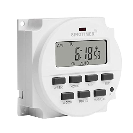Matefield Interruptor Temporizador de relé de 12 V CC TM618sH programable digital Semanal 7 días Interruptor