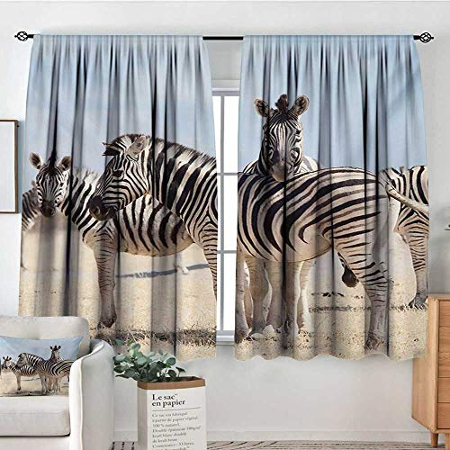 Mozenou Wildlife Thermal Insulating Blackout Curtain Three Zebras in Namibia National Park Africa Savannah Safari Theme Kid Blackout Curtains 63