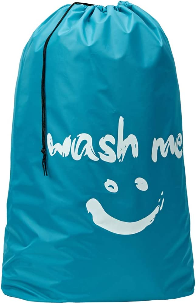 HOMEST XL Wash Me Travel Laundry Bag, Machine Washable Dirty Clothes Organizer, Large Enough to Hold 4 Loads of Laundry, Easy Fit a Laundry Hamper or Basket, Blue