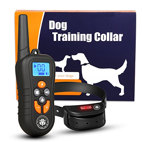 Dog Training Collar,Shock Bark Training Collar for dogs,NO Hurt and Rechargeable and IP7 Waterproof with 1800FT Remote Beep/vibration/Shock Electronic Collar Modes for Small Medium Large Dogs by JIALANJIUYU