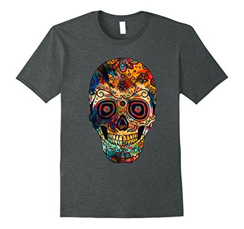 Sugar Skull Costume Male (Mens Halloween Sugar Skull Costume Scary Pumpkin Happy T-shirt 3XL Dark Heather)
