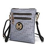 MKF Crossbody Purse for women - Removable Adjustable Strap - Vegan leather wristlet Designer messenger bag Grey