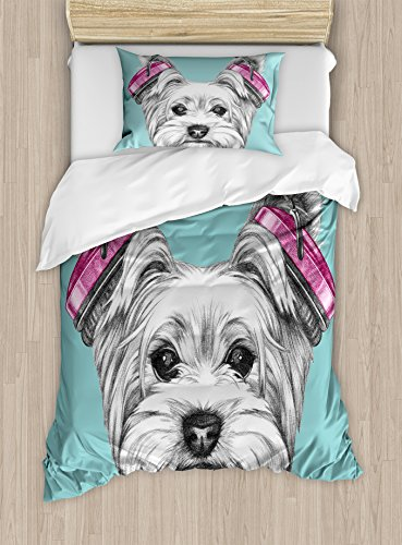 Ambesonne Yorkie Duvet Cover Set Twin Size, Dog with Headpho