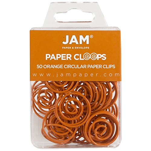 JAM Paper Papercloops - Round Circular Paperclips - Orange - 50/pack