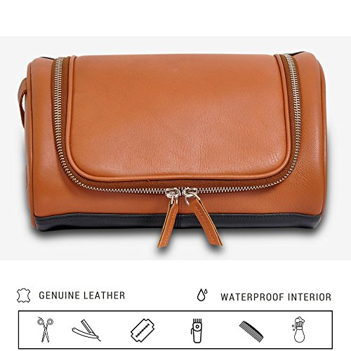 Med Hanging (IFZA Hanging Leather Toiletry Kit. 100% Leather Shaving bag, Dopp Kit for Men Women Travel Toiletry Bag Groomsmen Gift - Caramel)
