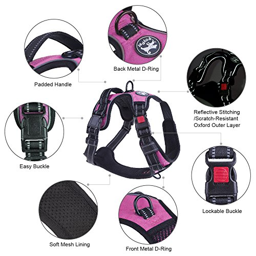 PoyPet No Pull Dog Harness, No Choke Front Lead Dog Reflective Harness, Adjustable Soft Padded Pet Vest with Easy Control Handle for Small to Large Dogs(Pink, Medium)