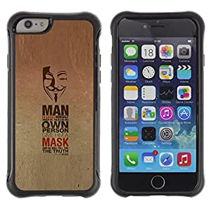 Fuerte Suave TPU GEL Caso Carcasa de Protección Funda para Apple Iphone 6 PLUS 5.5 / Business Style Mask Anonymous Freedom Protest Revolution