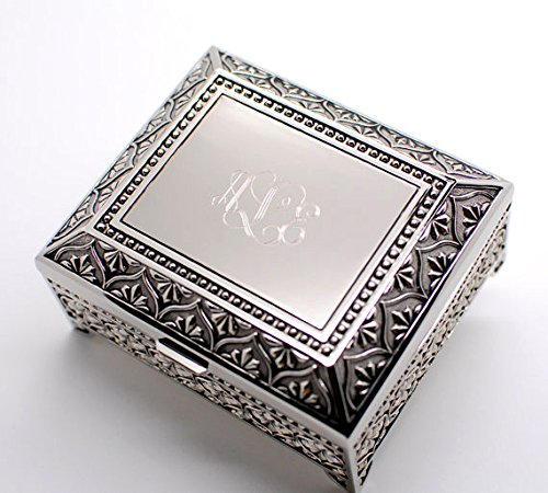 Personalized jewelry box - Engraved 4 Inch Antique jewelry