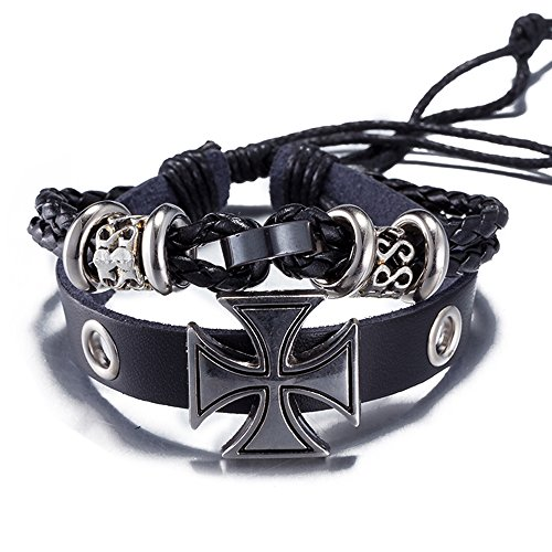 Iron Cross Charm - BEMI Personality Iron Cross Charms Bracelet Cowhide Genuine Leather Braided Rope Wrap Bracelets for Men Black